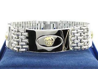 Greek Style 3 18k Solid Gold Medusa Heads 316L Steel Mens Bracelet