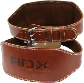 RDX Weight Lifting 6 Nubuck Leather Belt Back Support Strap Gym Power