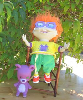 Rugrats Hard Plastic Plush Toy Chuckie Doll With Glasses & Tedy Bear