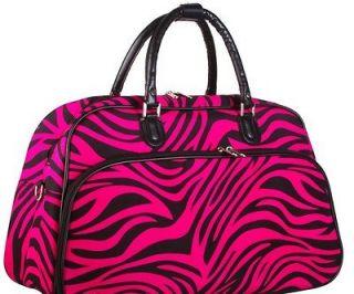 Zebra Print Bowler Style Black Trim Duffle Duffel Dance Overnight