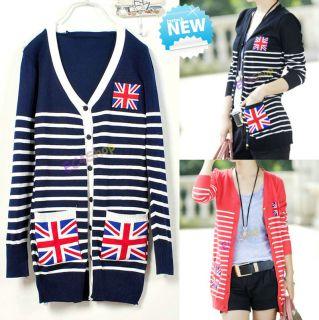 NEW Womens Union Jack Emblem Sailor Striped Cardigan Sweater Jumper
