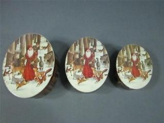 Set Of 3 Nesting Oval Christmas Boxes Features Father Christmas In The