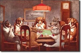 Dogs PLaying Poker Cards Vintage Metal Tin Sign Game Room Casino