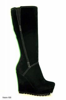 Black Suede Wedge Fashion Boots High Heel Henry Ferrera NY Sizes 6 11