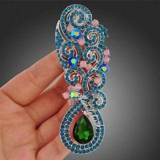 multi clear swarovski crystal beads flower vines brooch pin X176