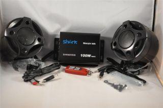 watt Motorcycle snowmobile 2 speakers + amplifier + radio + usb remote