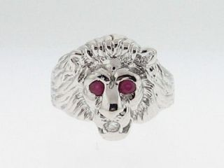 Large Lion Head Natural Ruby Diamond Solid 18k White Gold Mens Ring