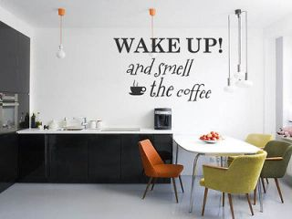 Vinyl Wall Decal Art Sticker   Wake up and smell the coffee   Large