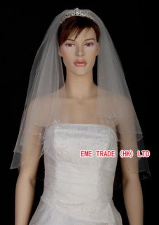 Bridal Wedding Veil Crystals Beads Edge With Comb w003d