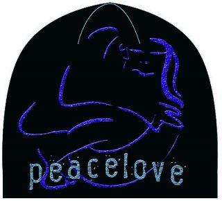 John Lennon Yoko Peace Love Logo Black Purple Soft Warm Beanie Cap Hat