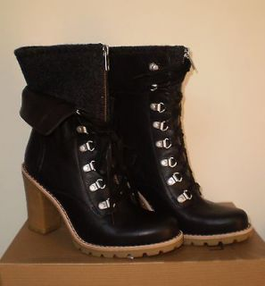 UGG Womens FABRICE Boot BLACK 7US LEATHER NWOB $250 MSRP