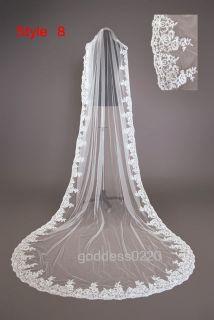 Whites/Ivory Wedding Veils Bridal Cathedral Veil Comb