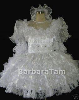 BBT VICTORIAN FLOUNCY ADULT SISSY WEDDING DRESS * FREE VEIL