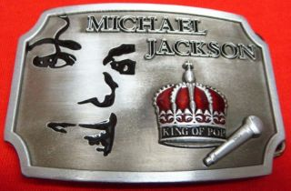MICHAEL JACKSON King of Pop BELT BUCKLE   New