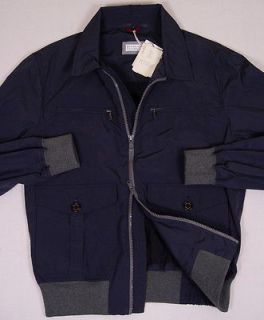 BRUNELLO CUCINELLI COAT $1,695 DARK BLUE DUAL ZIP LIGHT JACKET MED 50e