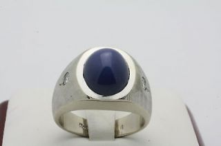 BRUSHED LINDE STAR SAPPHIRE RING WITH DIAMOND ACCENTS   10k Gold