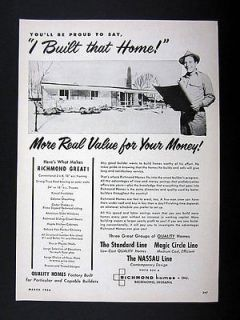 Richmond Homes Factory Built Prefab Houses 1956 print Ad advertisement