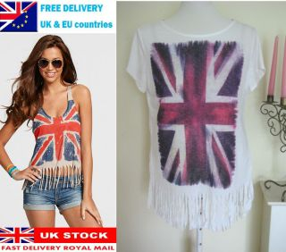 UNION JACK OVERSIZE FRINGE T SHIRT BRITISH FLAG LADY TUNIC TOP BLOUSE