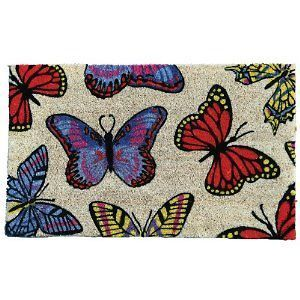 Garden Odyssey Vinyl Backed Butterfly Design Welcome Coir Door Mat