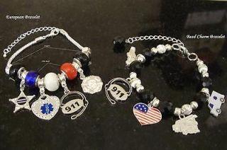 Custom DIY 911 Dispatcher Police Firefighter EMS Charm Bracelet