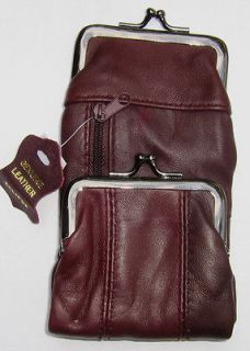 Burgundy Leather Cigarette Case. Snap & Zipper Pouch / Coin Purse