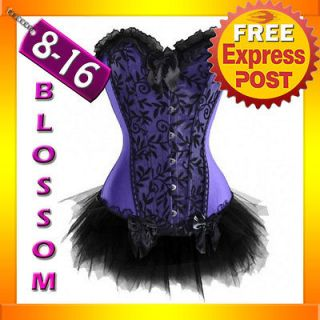 CC11 Purple Floral Satin Bustier Burlesque Corset Tutu Moulin Rouge