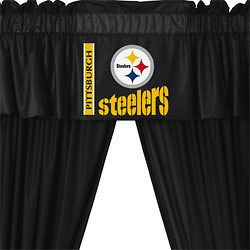PITTSBURGH STEELERS Football Window Drapes CURTAINS and VALANCE SET