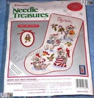 Needle Treasures MERRY NICE MICE Stocking Crewel Stitchery Christmas