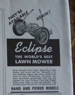 1946 Antique Eclipse Push Lawn Mower Ad