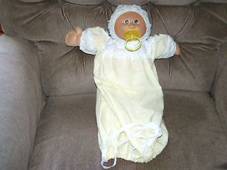 Vintage Cabbage Patch Kids 14 Baby Doll Yellow Hooded Gown Pacifier