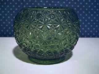 Green Glass Daisy Button 4 1/2 Ball Shaped Rose Bowl