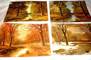 ROBERT WOODS PRINTS 4 FOUR SEASONS LITHOGRAPHS W SIGNATURE 11 X 14