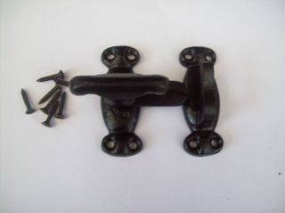 IRON BLACK ANTIQUE HEAVY DUTY CUPBOARD CABINET DOOR CATCH LATCH