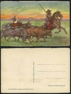 Corrida de Toros Camino de Plaza, Encierro Old Postcard