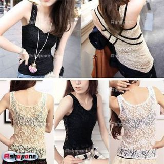 Sexy Full Lace Tank Top Vest Sleeveless Shirt Waistcoat Camisole