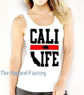 Junior CALI LIFE White Tank Top T Shirt CALIFORNIA REPUBLIC Bear
