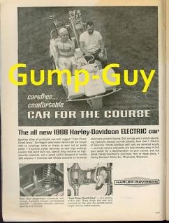 Vintage 1965 Black & White Print Ad for HARLEY DAVIDSO N Golf Car Cart
