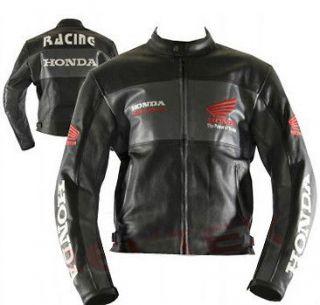 Men Black Honda Motorcycle Biker Leather Jacket size XS to 6XL
