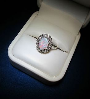 Colorful Estate Opal Diamond Accents Solid Gold Right Hand Ring