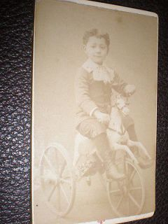 CDV old photograph boy on horse tricycle by Vidal of Paris c1880s