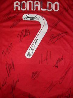 Real Madrid Cristiano Ronaldo red jersey shirt team signed   Rare