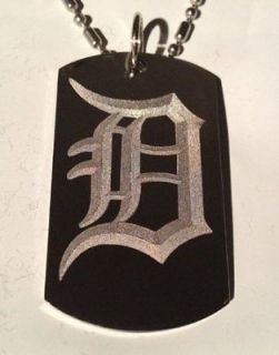 OLD English Font Initial Alphabet Letter D   Dog Tag w/ Metal Chain