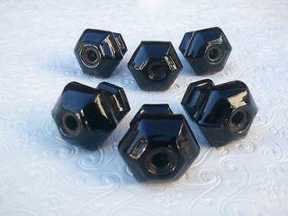 Hexagon BLACK Glass Dresser Drawer Pull Handle Knob Hardware Lot