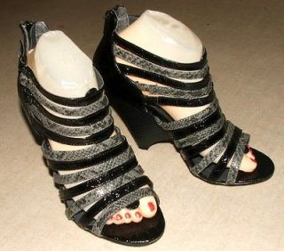 NEW FANTASTIC Black & Grey Snake Print Multi Strap Peep Toe Gladiator