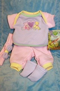 Cabbage Patch Kids Modern TRU Pink/Purple Teddy Bear Baby Outfit 16 in