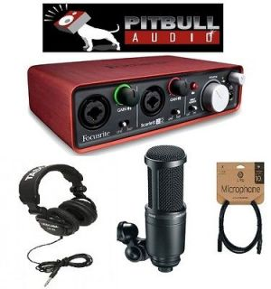 Home Recording Studio Package Focusrite Scarlett 2i2 AT2020 Mic Tascam