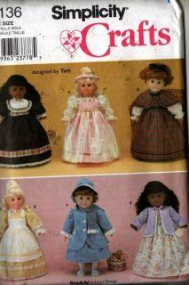 Sewing Pattern Simplicity 9136 18 Doll Clothes Dress Coat Bonnet Cape