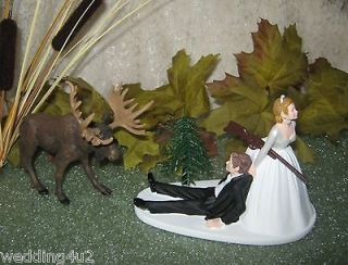 HUMOROUS WEDDING MOOSE HUNTER HUNTING CAKE TOPPER
