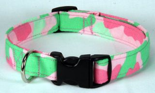 Pink & Lime Green Camo Designer Dog Collar