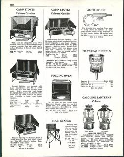 1938 AD Coleman Gasoline Camp Stoves & Folding Oven Sheet Steel Iron